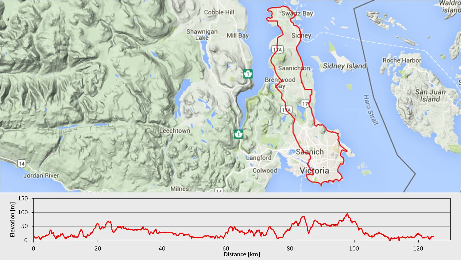 North 48 Bicycles Saanich Peninsula tour route map