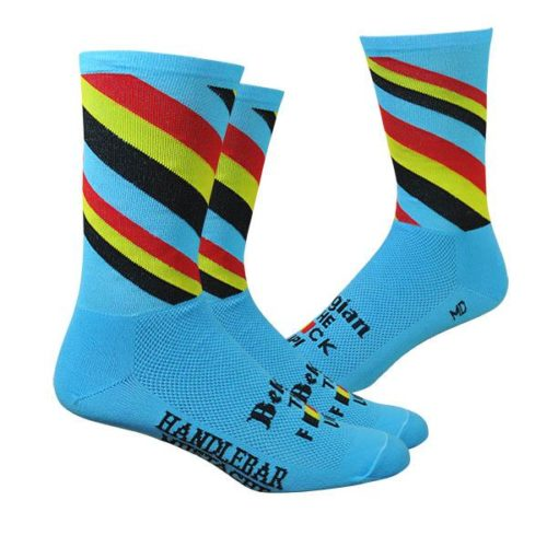 Cycling Socks Handlebar Mustache Belgie Plus Blue with Belgian Flag