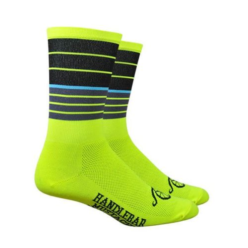Cycling Socks Handlebar Mustache Biggie Smalls Hi Viz Yellow with black stripes