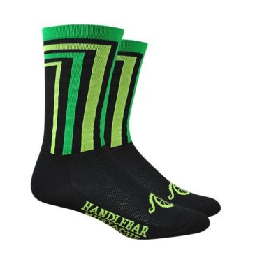Cycling Socks Handlebar Mustache Crossbar Black sock with Neon Green and Yellow accents
