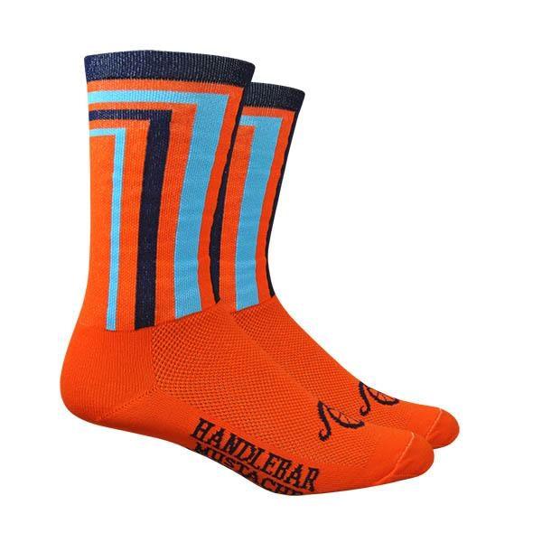 Cycling Socks Handlebar Mustache Crossbar Orange sock with Blue accents