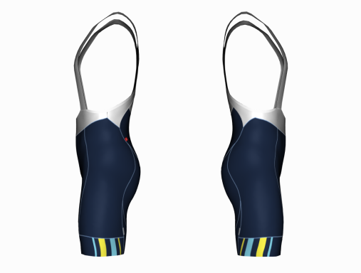 Cycling Bib Shorts Navy Solar Pro - side